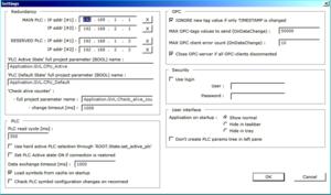 Regul OPC DA Server configuration screen