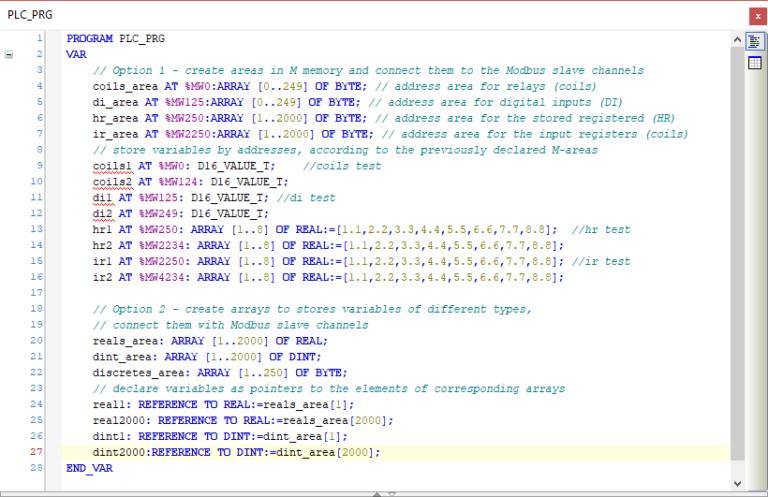 Epsilon LD - Modbus communication variables