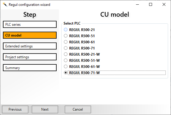 Epsilon LD - Regul PLC configuration wizard - Selecting CPU