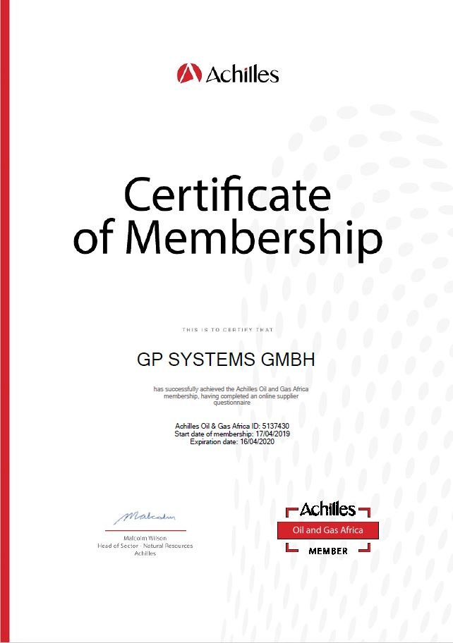 Achilles Oil and Gas Certificate GP Systems GmbH